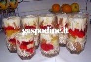 Ledų desertas su konservuotais vaisiais