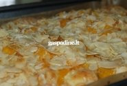 Pyragas su persikais ir migdolų drožlėmis
