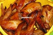 Vištos sparneliai sojos - klevų sirupo marinate