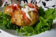 Bulvės keptos orkaitėje su lašiša ir kastiniu