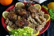 Vištiena citrininiame marinate su ryžiais (vienos keptuvės patiekalas)