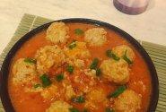 Pomidorų padaže troškinti kiaulienos kukuliai