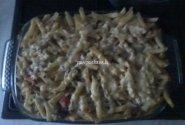 Domantės makaronų apkepas su faršu ir daržovėmis