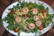 Rukolos salotos su krevetėmis