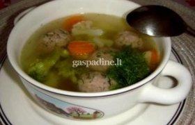 Daržovių sriuba su mėsos kukuliais