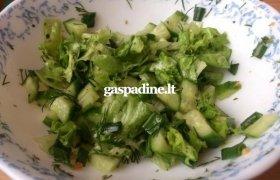 Lapinės salotos su agurkais, krapais, svogūno laiškais