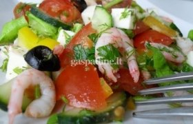 Skanios salotos su krevetėsmis