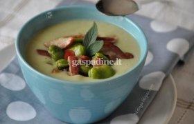 Kreminė bulvių sriuba su poru, pupom bei šonine