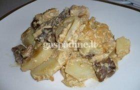 Bulvių ir grybų apkepas