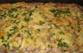 Makaronų ir mėsos apkepas