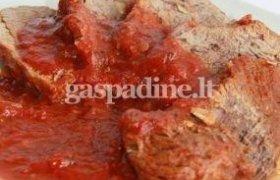 Jautienos kepsnys su pomidorų pastos ir vyno padažu