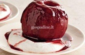 Vyne apvirti obuoliai su vaniliniu jogurtu