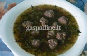 Lęšių sriuba su mėsos kukuliukais