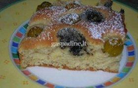Pyragas su konservuotomis slyvomis ir aguonomis