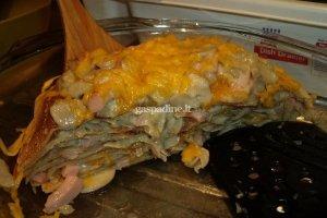 Blynų tortas su grybais