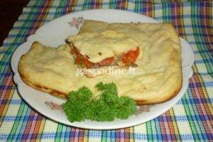 Bulvių apkepas su baklažanais, pomidorais ir svogūnais